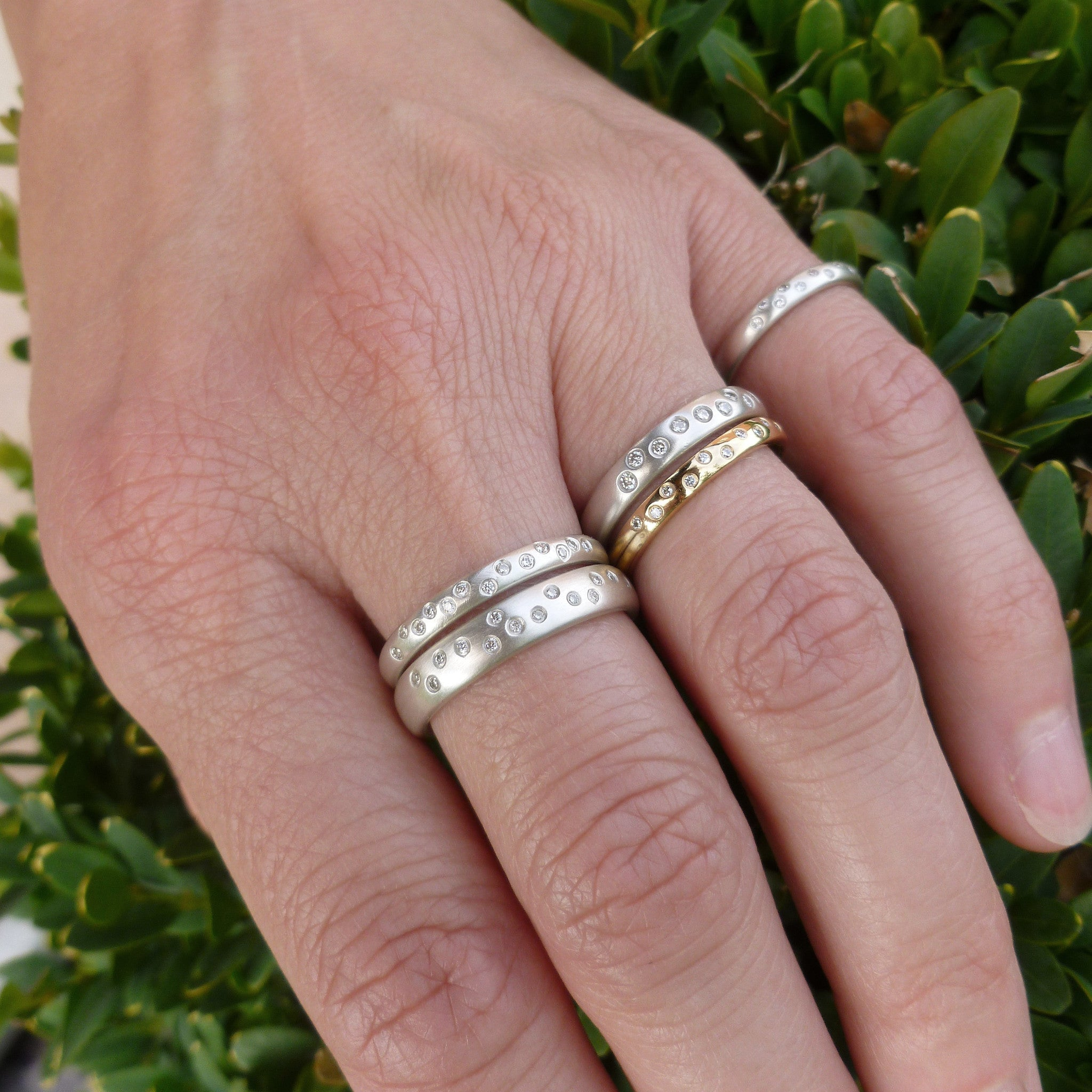 Modern contemporary silver and diamond ring - bespoke and handmade.