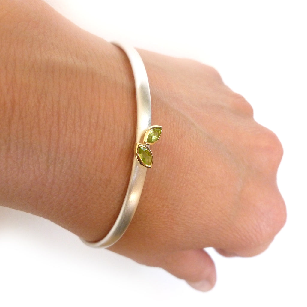silver and gold contemporary bangle