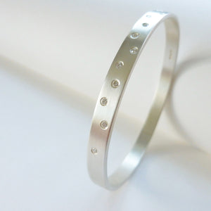 Silver and diamond bangle - unique, modern and bespoke.