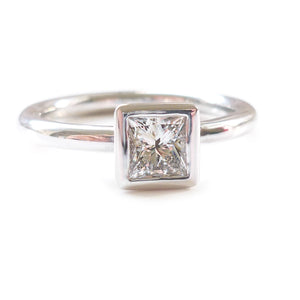 bespoke square diamond platinum ring