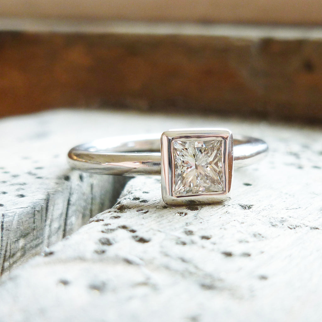 classic platinum square diamond ring