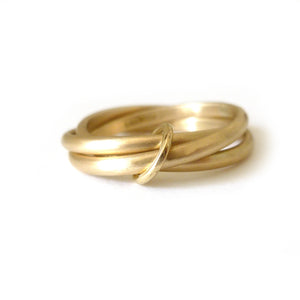simple 3 band stacking wedding ring handmade in uk