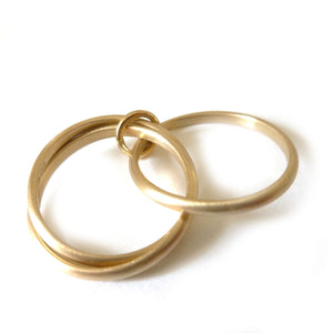 modern alternative tactile brushed gold wedding ring