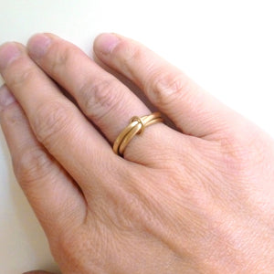 unique brushed yellow gold 3 band wedding ring