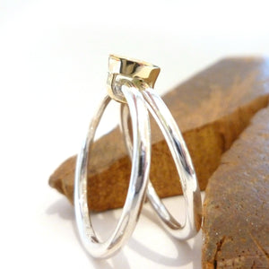 Alternative wedding ring, two stacking ring joined together with aquamarine