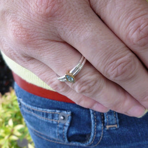 modern and classic silver engagement ring by designer and maker Sue Lane UK