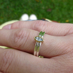 modern bespoke silver and gold ring with blue marquise aquamarine by Sue Lane UK