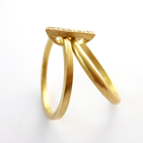 bespoke modern gold and pave diamond two band ring