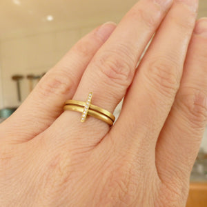 modern gold and diamond two band ring by in Herefordshire UK