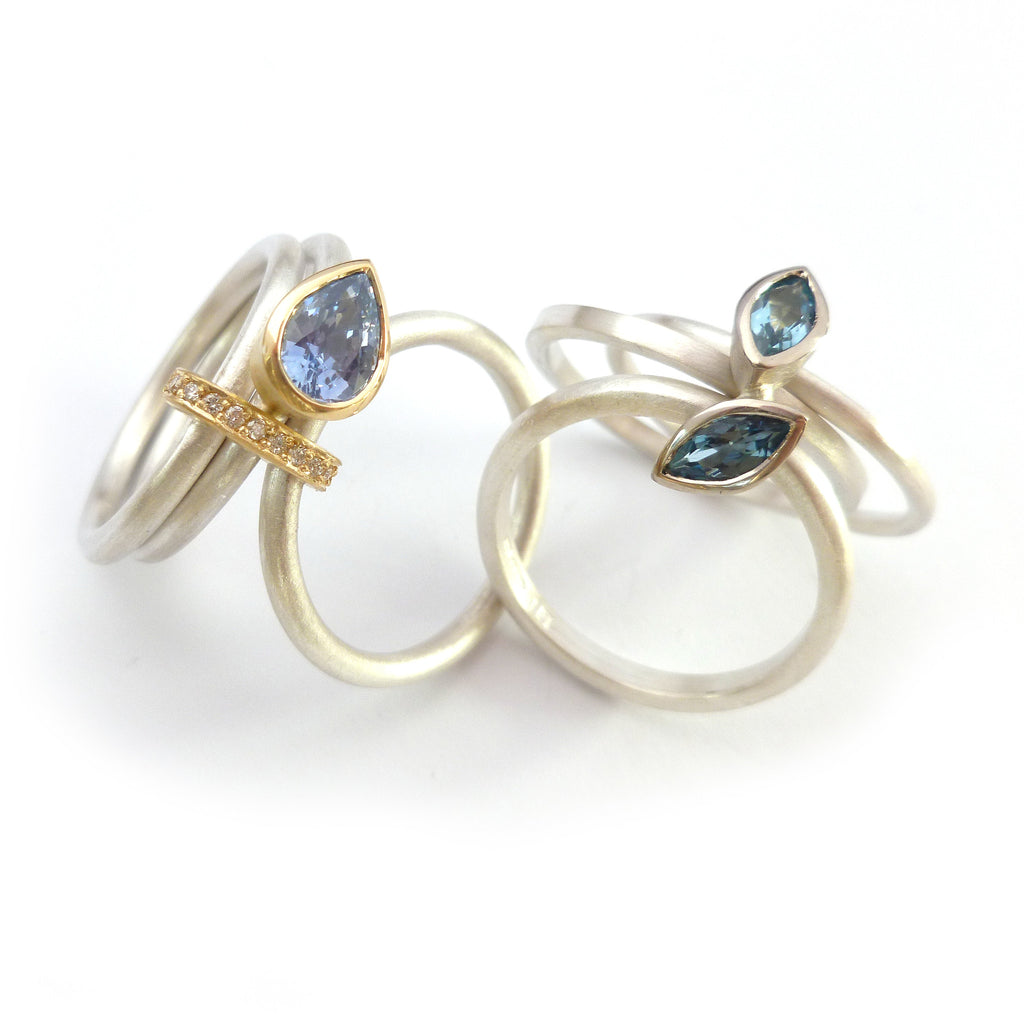 unique unusual sapphire and aquamarine ringset in silver and gold
