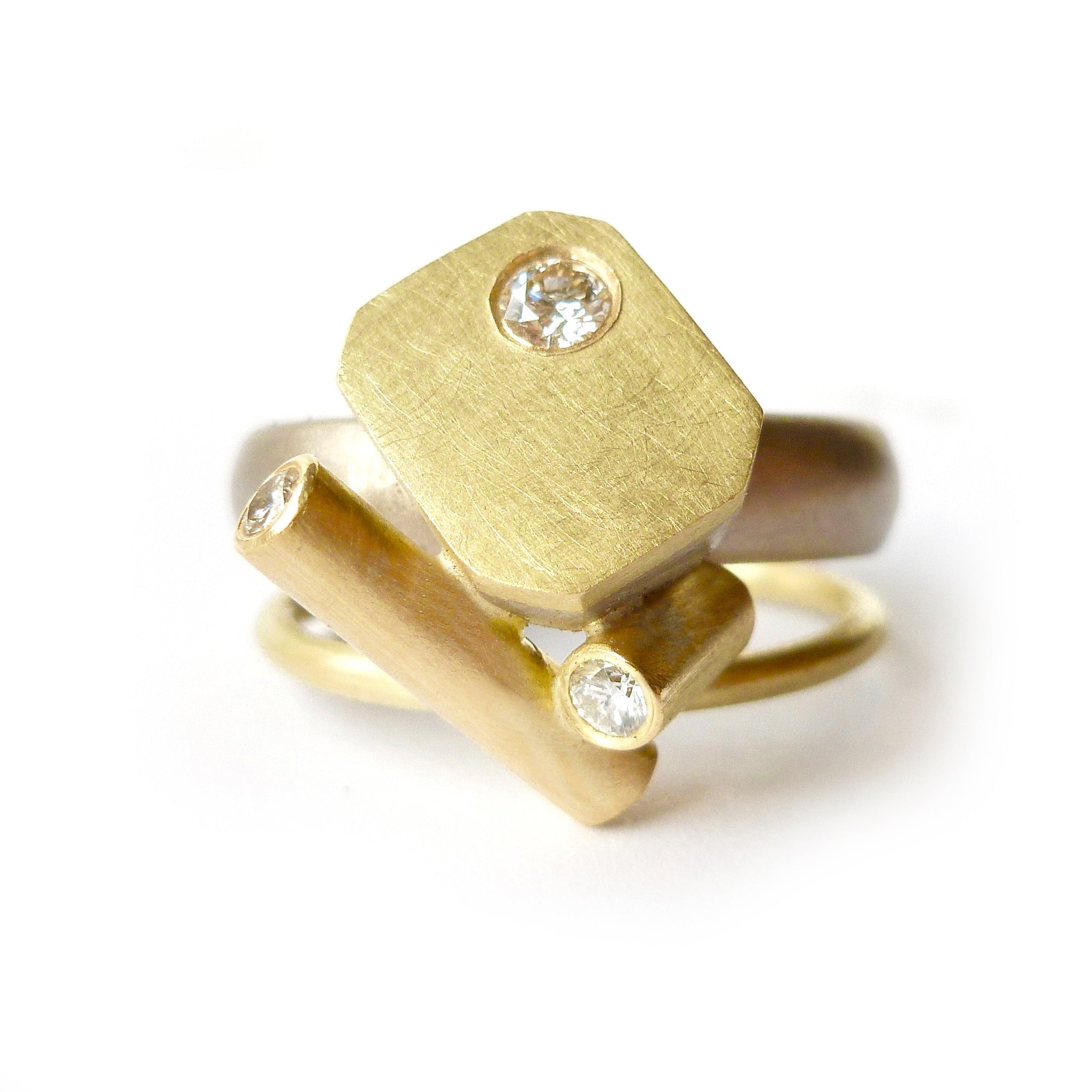 statement gold and diamond dress or cocktail ring