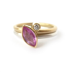 Handmade pink sapphire and diamond stacking ring