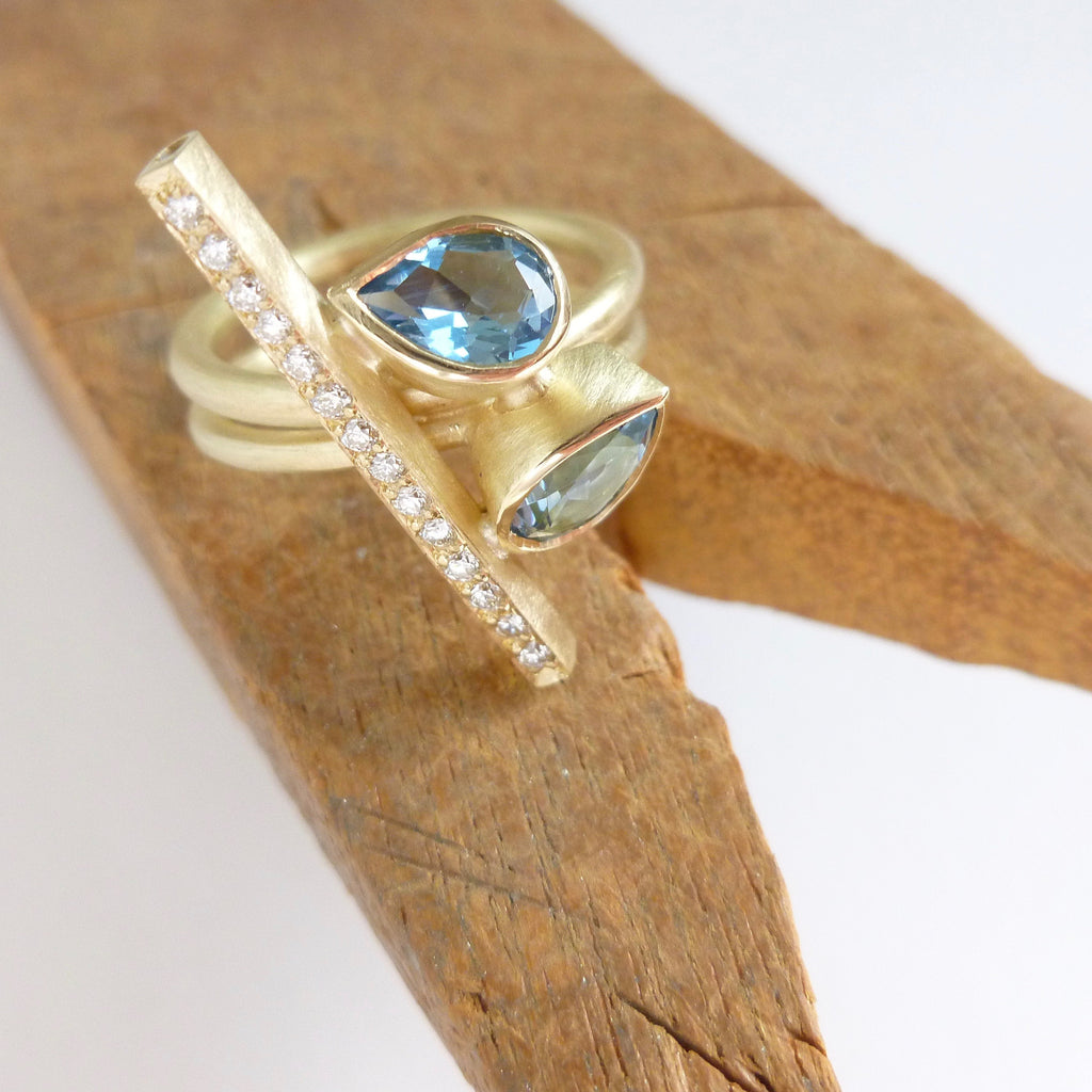 modern aquamarine and diamond dress ring