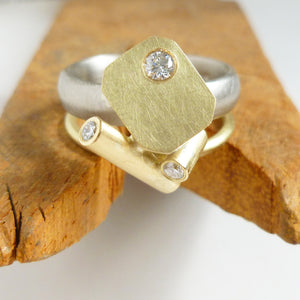 bespoke alternative chunky gold and diamond ring