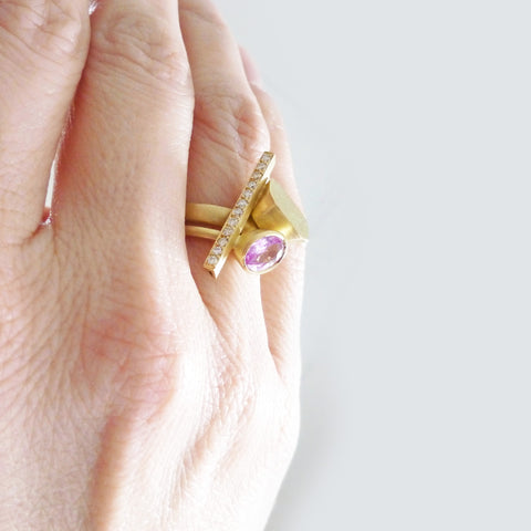 baby pink sapphire one of a kind statement ring set in yellow gold