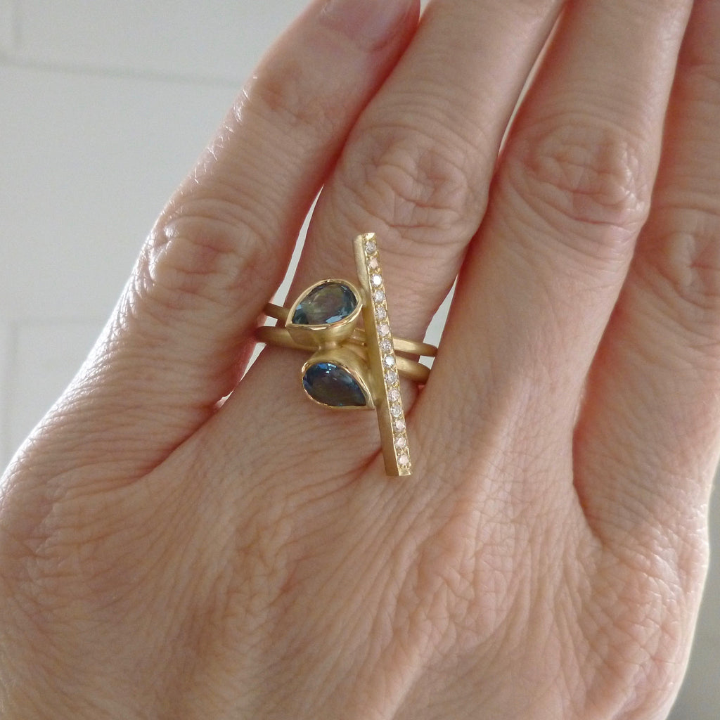 modern statement gold ring made in UK