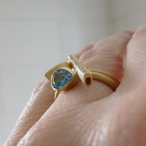 contemporary diamond and aquamarine ring by Sue Lane UK