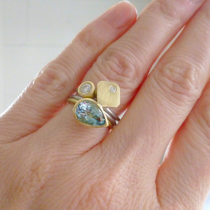 modern chunky two tone aquamarine and diamond ringset un design and maker Sue Lane