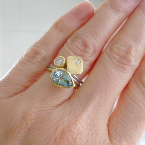 bespoke modern aquamarine statement contemporary ring by UK designer and maker