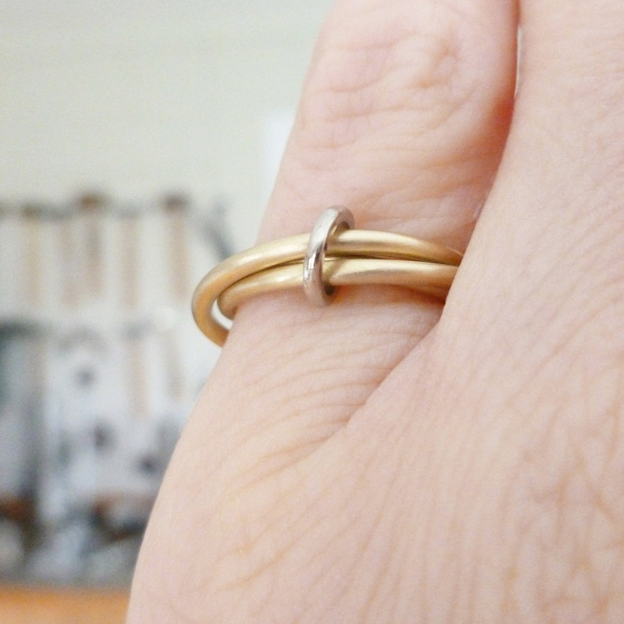 modern three band gold ring linking together