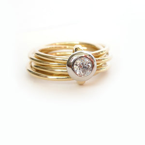 contemporary and alternative engagement ring. Multi band ring or interlocking ring.