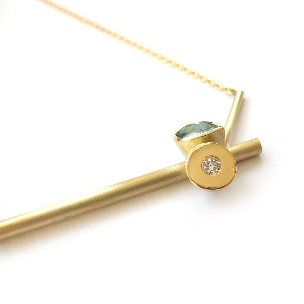 modern gold and aquamarine necklace