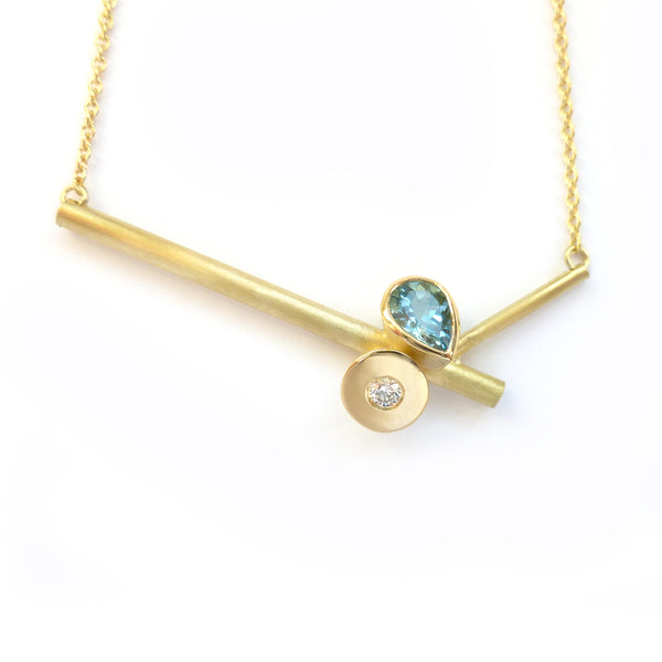 modern gold, diamond and aquamarine necklace