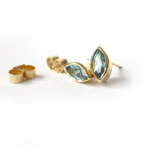 18ct gold and aquamarine stud earrings