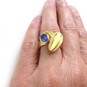 Unique contemporary gold, platinum and tanzanite ring with gold leaf shape detail
