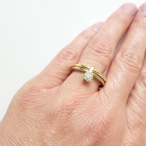 Modern alternative engagement wedding ring - gold and diamond two band ring. Multi band ring or interlocking ring, sometimes called double band ring too.