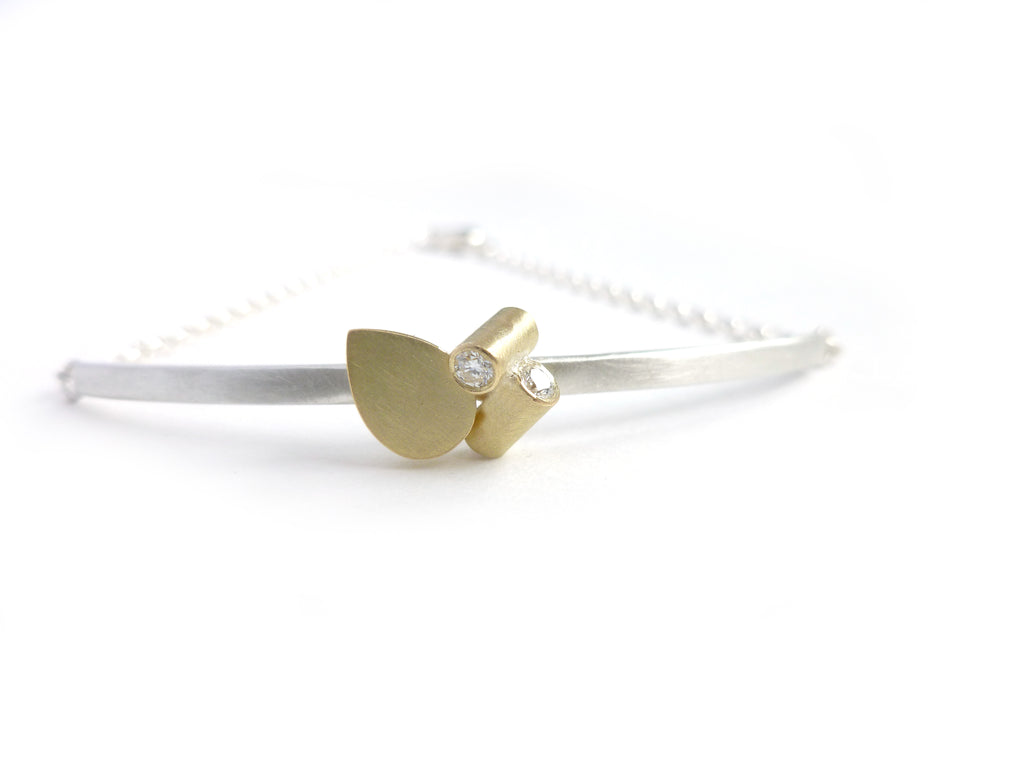 Contemporary 18k gold and diamond bracelet by Sue Lane jewellery UK