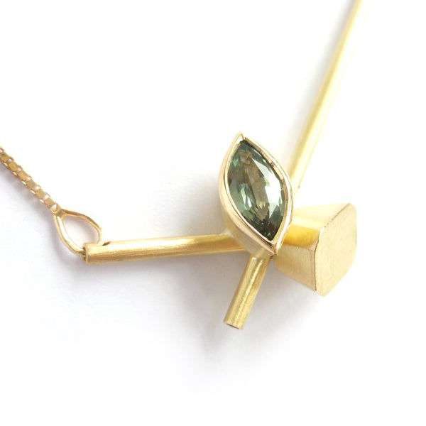 modern contemporary gold and green sapphire necklace