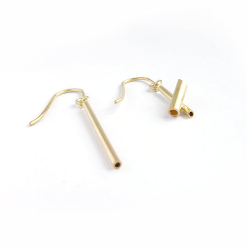 Beautiful, simple handmade drop earrings. Unique and modern non matching earrings in yellow gold. Made in UK by designer maker Sue Lane Contemporary Jewellery.