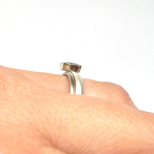 two band modern silver and aquamarine stacking ring with brushed finish