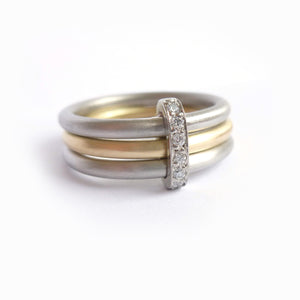Two tone handmade three band ring, perfect alternative wedding ring or modern  engagement ring