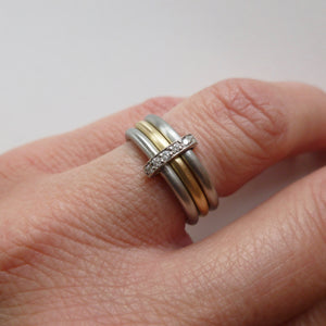 Bespoke wedding and engagement ring combined into one ring  - platinum. Multi band ring or interlocking ring, sometimes called triple band rings too.