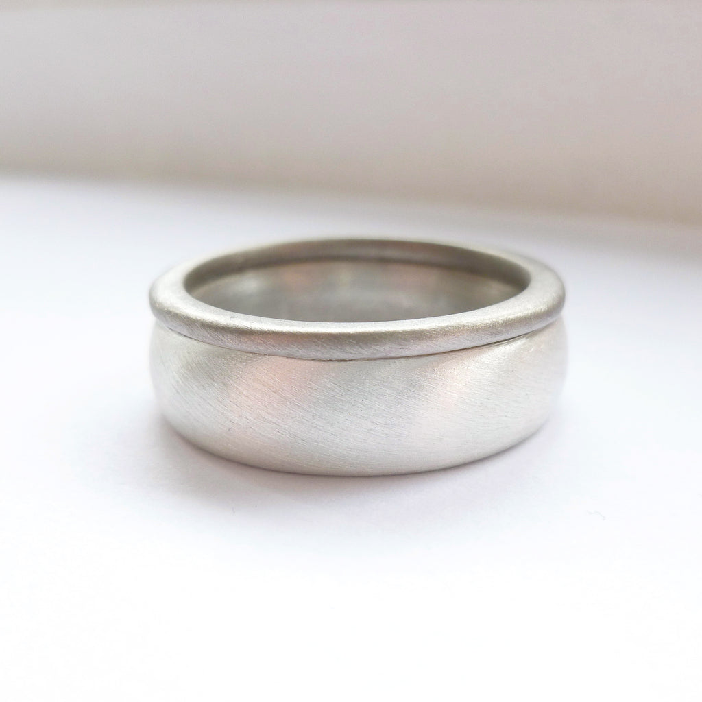 handmade chunky mens ring in silver and gold