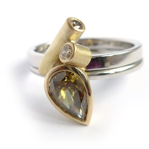bespoke platinum and gold ring with natural green diamond with GIA certification