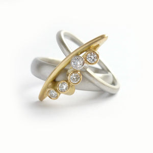 bespoke modern platinum and gold dress ring with diamonds by UK designer and maker Sue Lane