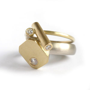 Contemporary chunky bold gold ring with diamonds handmade in UK by designer and make Sue Lane