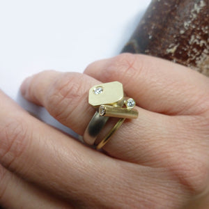 Contemporary chunky gold ring with diamonds handmade in UK by designer and make Sue Lane