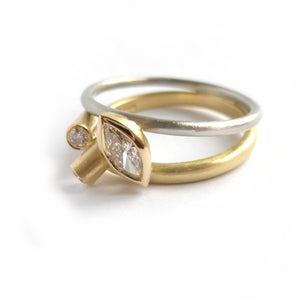 handmade modern bespoke white and yellow gold and marquise diamond ring