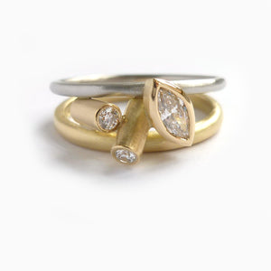 modern bespoke white and yellow gold and marquise diamond ring  handmade by Sue Lane