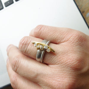 chunky modern platinum and gold dress ring with diamonds by UK designer and maker Sue Lane