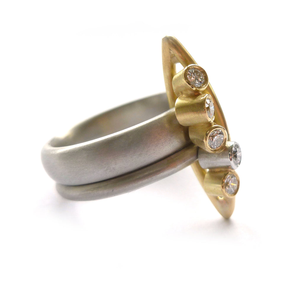 unique and bold platinum and diamond dress ring by Uk designer and maker Sue Lane