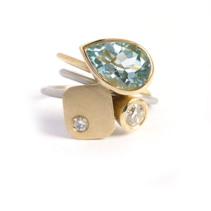 one of contemporary aquamarine and diamond ringset by Sue Lane