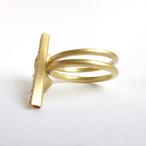 contemporary gold aquamarine and diamond dress ring by UK designer and maker Sue Lane