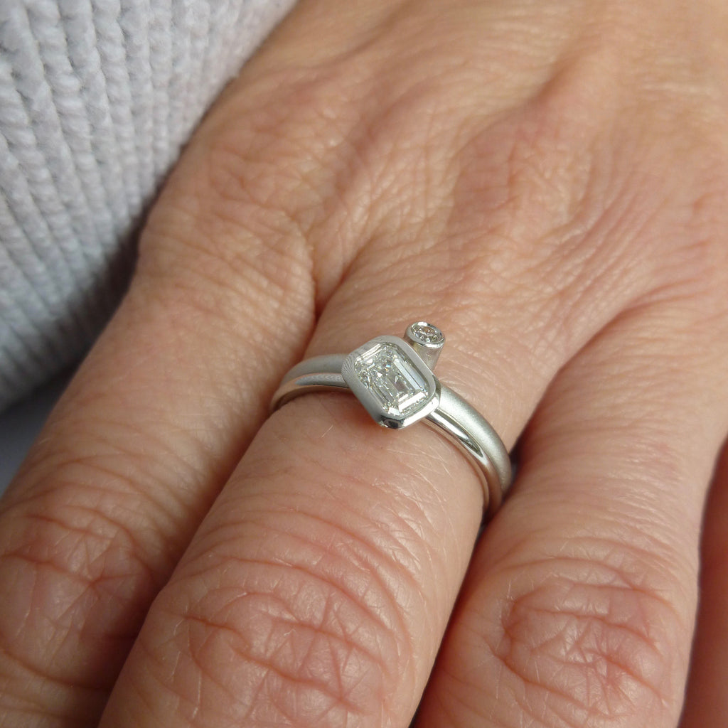 Bespoke platinum and emerald cut two band stacking diamond engagement  ring handcrafted in the UK