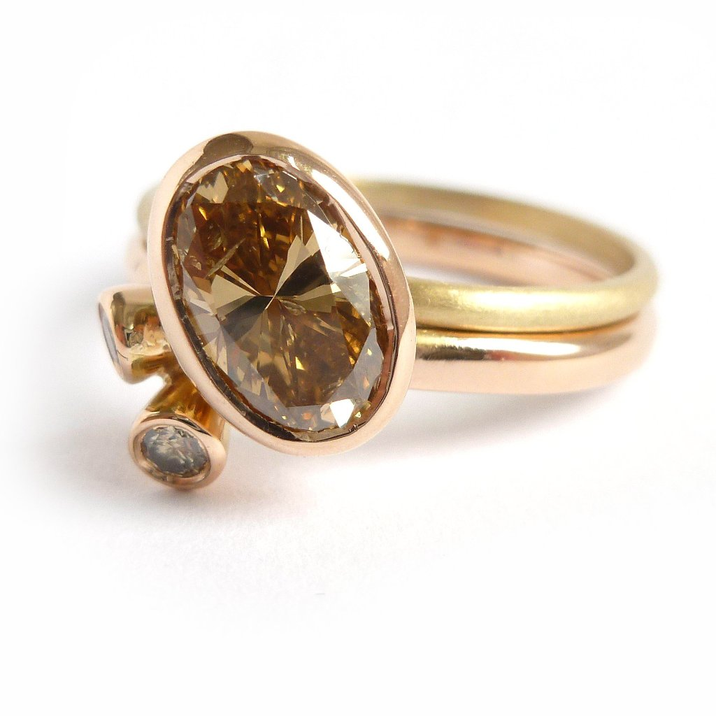 modern rose and yellow gold two band stacking ring with champagne diamond by Sue Lane UK