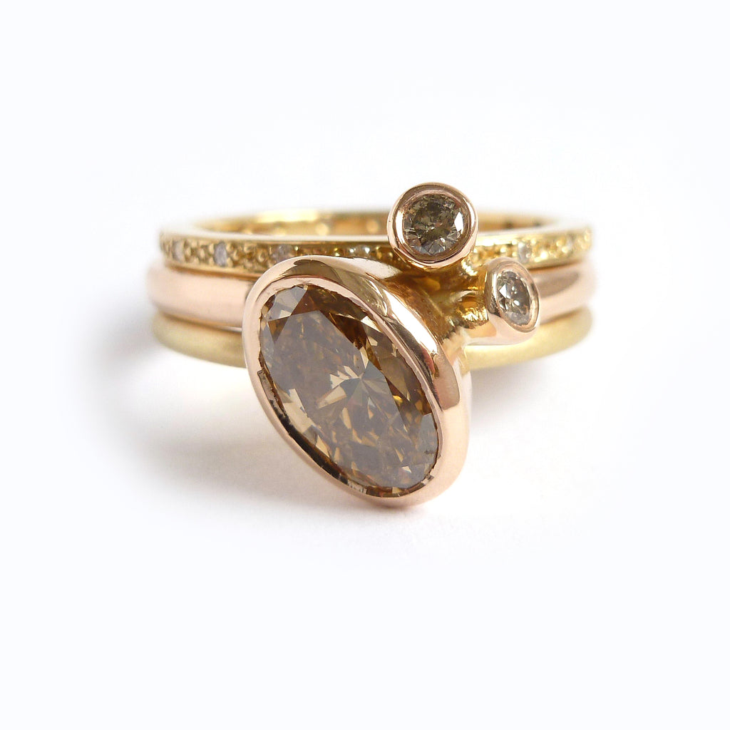 Contemporary modern rose and yellow gold two band stacking ring with champagne diamond by Sue Lane UK